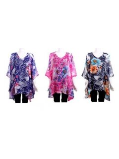 K038 SUMMER KAFTAN SET ONE BLACK ONE PINK ONE BLACK WITH LARGE FLOWER PRINT Please Click the image for more information.
