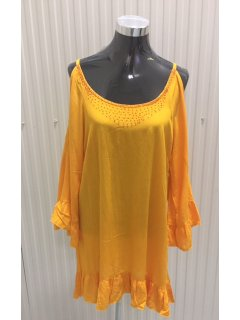 K063C YELLOW CRINKLE RAYON DRESSLONGBEADED BODICECUTOUT SLEEVEAVAILABLE IN RED ORANGE BLUE OR YELLOW2PCS PER PACK Please Click the image for more information.