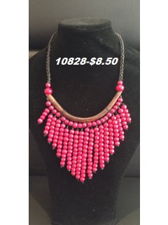 10828 Red Wooden Drop Necklace Please Click the image for more information.
