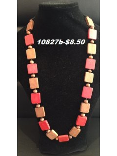 10827B BROWN  ORANGE WOODEN NECKLACE Please Click the image for more information.