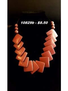 10829B BROWN WOODEN SQUARE TAPERED NECKLACE Please Click the image for more information.