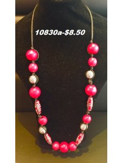 10830A RED WOODEN BEAD NECKLACE Please Click the image for more information.