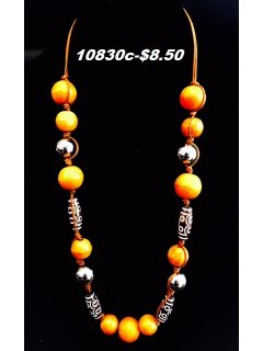 10830C ORANGE WOODEN BEADED NECKLACE Please Click the image for more information.