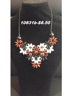 10831B BROWNTANWHITEBLACK WOODEN FLOWER NECKLACE Please Click the image for more information.