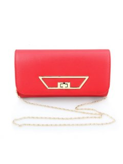 H0727A RED EVENING BAG WITH GOLD CLASP FEATURE Please Click the image for more information.