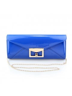 H0728B BLUE PATENT EVENING BAG WITH ENVELOPE CLASP Please Click the image for more information.
