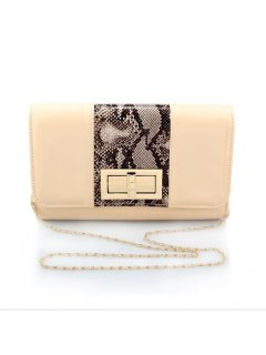 H0731A NUDE EVENING BAG WITH ANIMAL PRINT INSERT Please Click the image for more information.