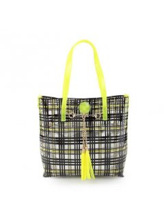 H0751A YELLOW  BLACK TOTE  SILVER SATCHEL Please Click the image for more information.