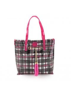 H0751C PINK  BLACK TOTE  SILVER SATCHEL Please Click the image for more information.