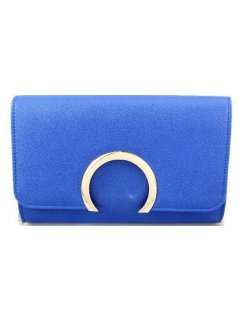 H0725B BLUE EVENING BAG WITH HALF MOON GOLD CLASP Please Click the image for more information.
