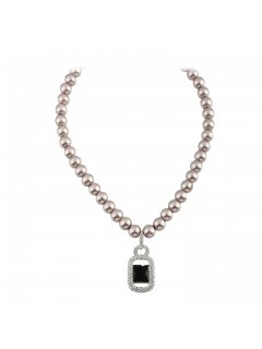 10801B CHAMPAGNE PEARL NECKLACE WITH BLACK ONYX DIAMONTE DROP Please Click the image for more information.