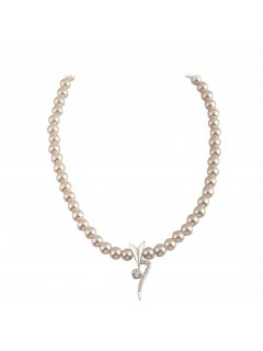 10806B CHAMPAGNE PEARL NECKLACE WITH DIAMONTE DROPALSO AVAILABLE IN BLACK OR CREAM Please Click the image for more information.
