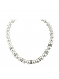 10808 CREAM PEARL NECKLACE WITH RONDELS AND MAGNETIC CLASP Please Click the image for more information.