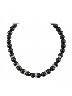 10808A BLACK PEARL NECKLACE WITH RONDELS AND MAGNETIC CLASP Please Click the image for more information.