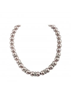 10808B MOCHA PEARL NECKLACE WITH RONDELS AND MAGNETIC CLASP Please Click the image for more information.