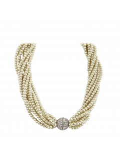 10810 CREAM TWISTED PEARL CHOKER WITH DIAMONTE MAGNETIC CLASP  18 LONG Please Click the image for more information.