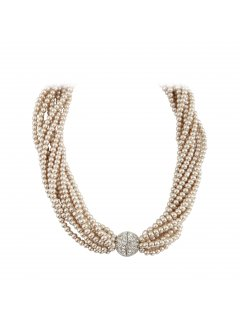 10810B CHAMPAGNE TWISTED PEARL CHOKER WITH DIAMONTE CLASP  18 LONG Please Click the image for more information.