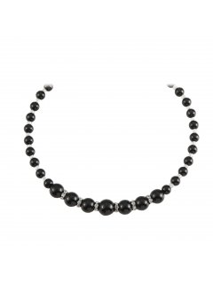 10813A BLACK GRADUATED PEARL NECKLACE WITH DIAMONTE INSERTS AND MAGNETIC CLASP  17 LONG Please Click the image for more information.