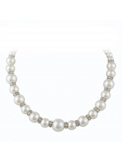 10813 CREAM GRADUATED PEARLDIAMONTE NECKLACE WITH MAGNETIC CLASP  17 LONG Please Click the image for more information.