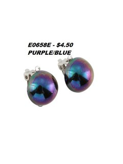 E0658E BLUEPURPLE HALF PEARL CLIP ON EARRINGS Please Click the image for more information.