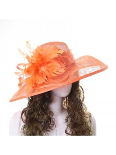 HA0253 ORANGE RACING HAT FEATURING LARGE SIDE BOW AND FLOWER Please Click the image for more information.