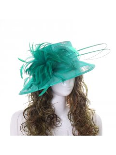 HA0257A GREEN HAT FEATURING LARGE SIDE FEATHER Please Click the image for more information.