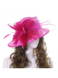 HA0257B PINK HAT FEATURING LARGE SIDE FEATHER Please Click the image for more information.