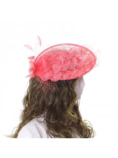 HA0261B CORAL PEACOCK FASCINATOR Please Click the image for more information.