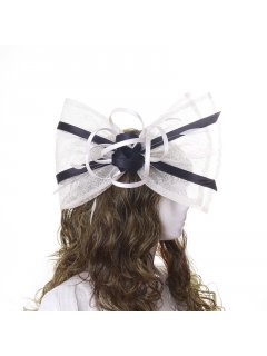 HA0265 LARGE BEIGE  BLACK BOW ON HEADBAND Please Click the image for more information.