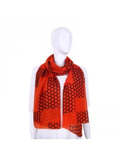 S243 ORANGE SCARF WITH CIRCLE PRINT Please Click the image for more information.