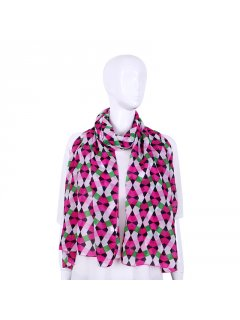 S237B PINK WHITE  GREEN ZIGZAG SCARF Please Click the image for more information.