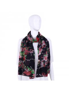 S232B BLACK SCARF WITH FLORAL PRINT Please Click the image for more information.
