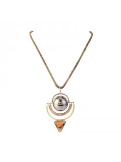 10821 GOLD NECKLACE WITH BALL  TRIANGLE FEATURE Please Click the image for more information.