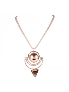 10821B ROSE GOLD NECKLACE WITH BALL  TRIANGLE DROP Please Click the image for more information.