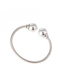 BB0221A SILVER BANGLE WITH LARGE BALL ENDS Please Click the image for more information.
