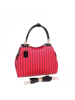 H0763 RED  BLACK STRIPE LEATHER HANDBG Please Click the image for more information.