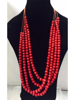 10833B RED WOODEN MULTI STRAND NECKLACE Please Click the image for more information.