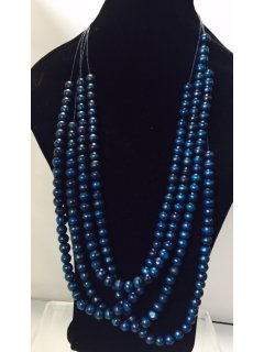 10833 BLUE WOODEN MULTI STRAND NECKLACE Please Click the image for more information.