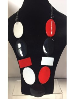 10834 REDWHITEBLACK WOODEN NECKLACE Please Click the image for more information.