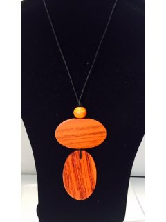 10835A ORANGE WOODEN NECKLACE Please Click the image for more information.