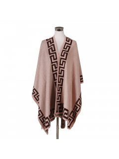 P122D BEIGE LADIES WRAP WITH BROWN VERSACE TRIM Please Click the image for more information.