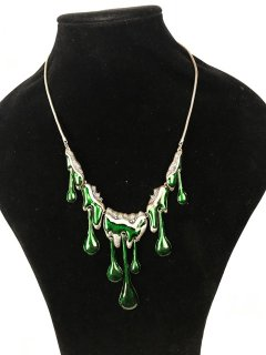 10042A LADIES SUMMER NECKLACE WITH GREEN ENAME DROPS Please Click the image for more information.