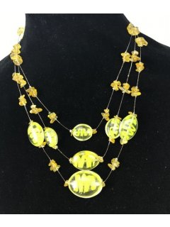 10097 YELLOW 3TIER GLASS NECKLACE Please Click the image for more information.