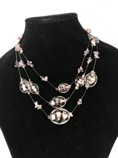 10097A PURPLE GLASS 3 TIER NECKLACE Please Click the image for more information.