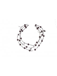 10120 SILVER SUMMER NECKLACE WITH BROWN BEADS  Please Click the image for more information.