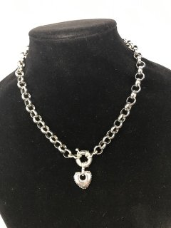10122A SILVER BELCHER CHAIN WITH HEART DROP Please Click the image for more information.