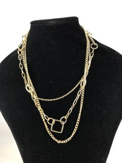 7063 LADIES GOLD NECKLACE WITH 3 CHAIN FEATURE Please Click the image for more information.