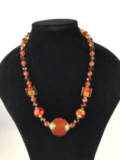 6931B LADIES ORANGERED GLASS NECKLACE Please Click the image for more information.