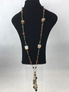 6935A LOOKS LIKE MURANO  LADIES AMBEROPAQUE GLASS NECKLACE Please Click the image for more information.