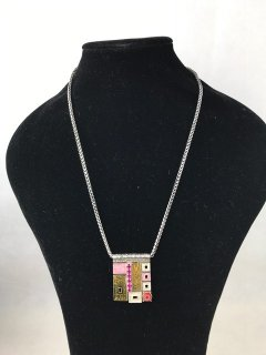 7134 LADIES SILVER NECKLACE WITH PINK PRINTED DROP Please Click the image for more information.